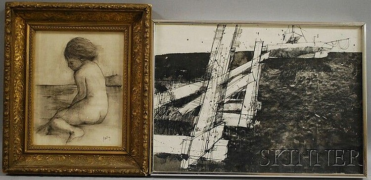 Two Works: Thomas Sgouros (American, b. 1927), Dead Boat, Wellfleet, 1975, signed