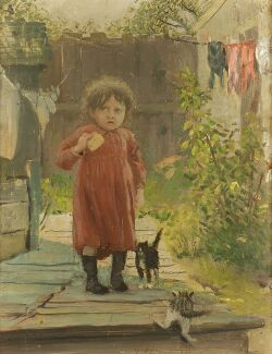 Frank Hector Tompkins (American, 1847-1922), In the Alley/A Girl with Her Kittens., Signed and dated