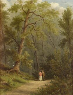 William R. Miller (American, 1850-1923), A Path through the Woods, Signed and dated
