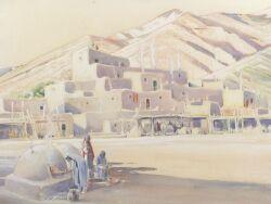 Joseph A. Imhof (American, 1871-1955), Taos Pueblo, Signed