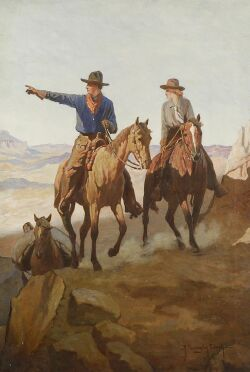 Robert Farrington Elwell (American, 1874-1962), At the Canyon's Edge/An Illustration of a Cowboy and Cowgirl, Signed