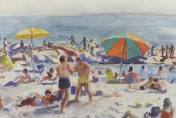 Agnes Anne Abbot (American, b. 1897), Ogunquit Beach and Stormy Day, A Double-Sided Watercolor, Unsigned, label from Powers Gallery, Ac