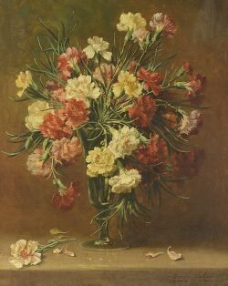 Emily Selinger (American, 1848-1927), Still Life with Carnations, Signed