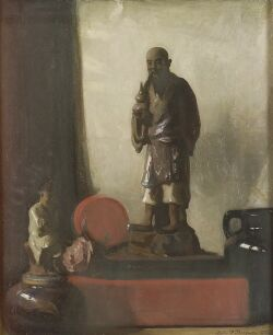 Leslie Prince Thompson (American, 1880-1963), Still Life with Asian Figurine, Signed and dated