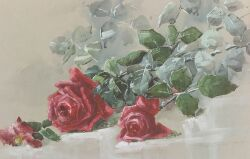 Henrietta Dunn Mears (American, b. 1877), Still Life with Red Roses, Signed (in pencil)