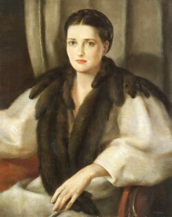 Harry Lane (American, b. 1891), Her Mink Stole, Signed
