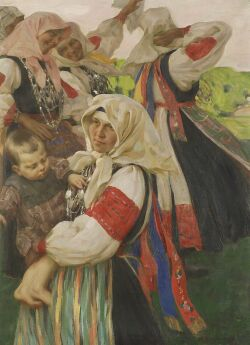 Nicholas B. Haritonoff (Russian, 1880-1944), The Peasant Dance, Reinforced signature (in Cyrillic) l.r., label from Bendann's Fine Art