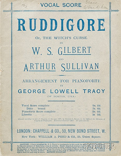 Gilbert, Sir William Schwenck (1836-1911) & Sullivan, Sir Arthur (1842-1900), Vocal score for Ruddigore, Or the...