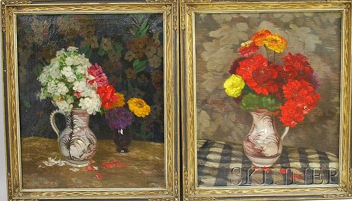 Georg Daubner (German, 1865-1926) Pair of Still Lifes of Summer Flowers. Signed