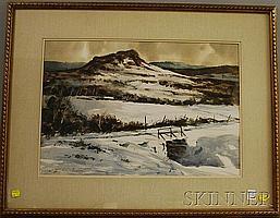 """Joseph L.C. Santoro (American, 1908-1996) Snowy Hillscape. Signed """"Joseph L.C. Santoro A.N.A."""" l.l. Watercolor on paper, sight size ..."""