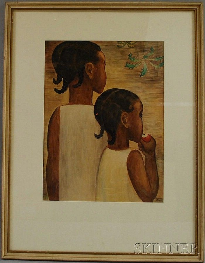 Lucienne Bloch (American, 1909-1999) Two Girls. Signed l.r. Watercolor on paper, sight size 19 1/4 x 14 1/2 in., framed. Condition: ...