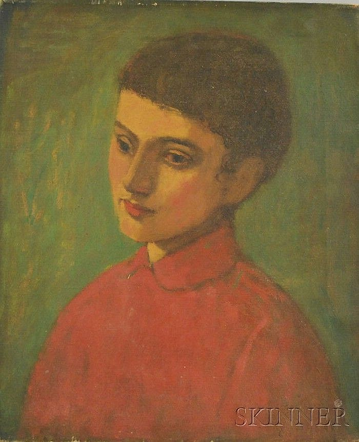 Lambro Ahlas (American, b. 1928) Portrait of a Boy in Red. Signed