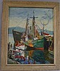 Charles Stepule (American, 1911-2006) Boats at Pier. Signed