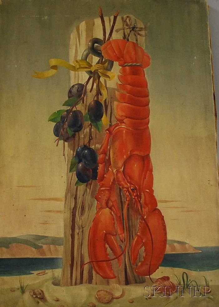 Paul F. Riba (American, 1912-1977) Beach Still Life with Lobster. Signed