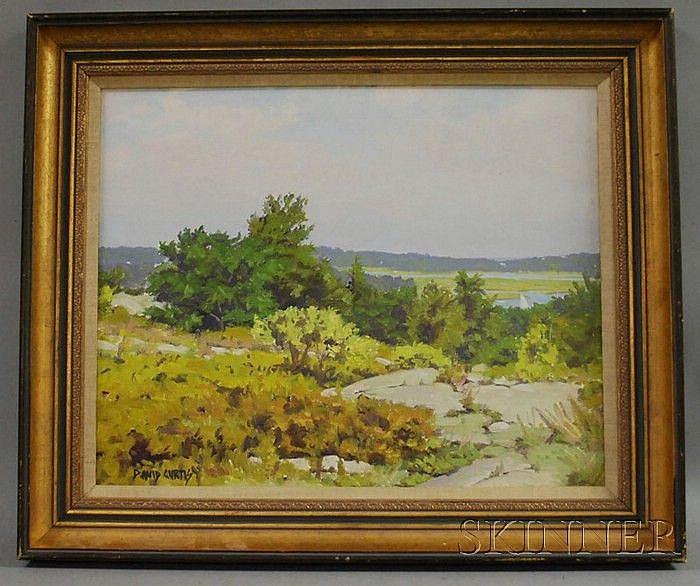 David Curtis (American, b. 1950) Spring Landscape with Distant Water View. Signed