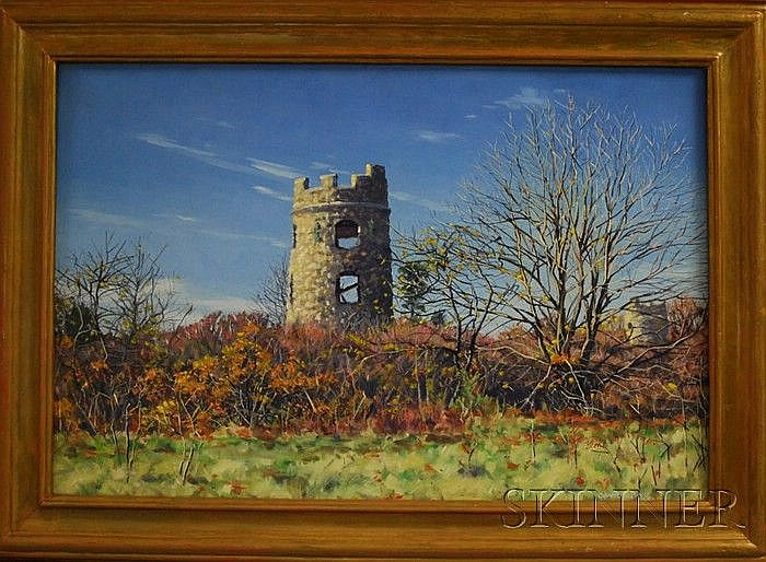 David Curtis (American, b. 1950) Castle Ruins in Fall. Signed