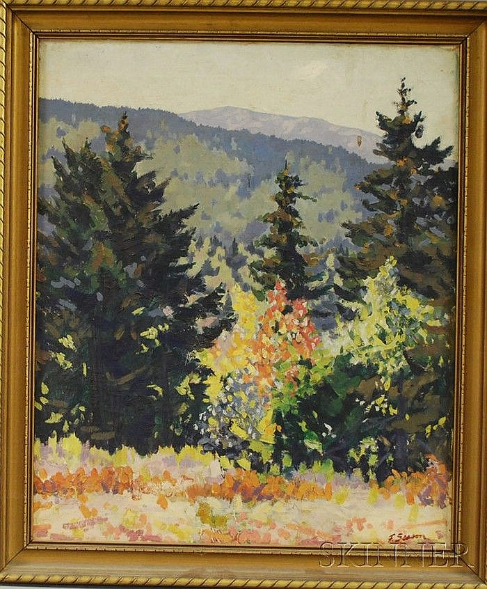 Frederick Rhodes Sisson (American, 1893-1962) Autumn Landscape. Signed