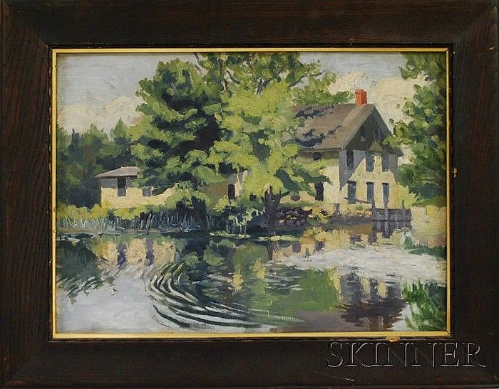 Attributed to Frederick Rhodes Sisson (American, 1893-1962) Spring Stream with Houses. Unsigned, inscribed