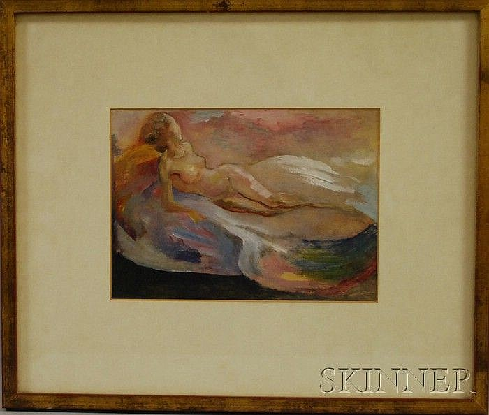 Attributed to Edward Estlin (E.E.) Cummings (American, 1894-1962) Nude. Unsigned, with a Dryden Galleries, Ltd.,