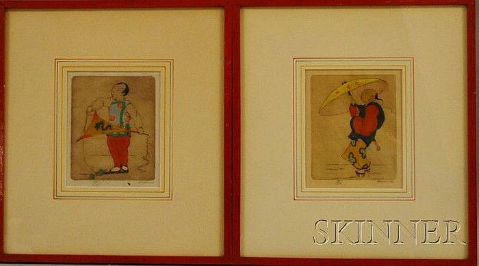Dorsey Potter Tyson (American, 1891-1969) Lot of Two Hand-colored Etchings: Spring Rain and Chinese Study #4. Both signed l.r. and n...