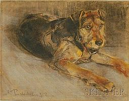 """Alfons Purtscher (Austrian, 1885-1962) Portrait of a Terrier. Signed and dated """"A. Purtscher 1908"""" l.r. Pastel on paper, 16 1/4 x 21..."""