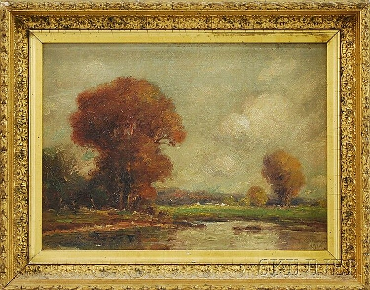 Frederick Leo Hunter (American, 1851-1943) Fall Landscape. Signed and dated