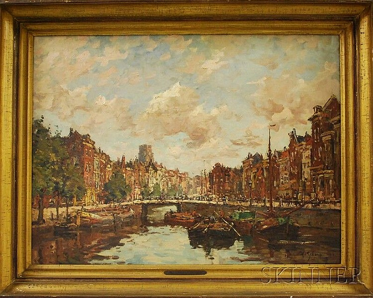 Hendrik Schaap (Dutch, 1878-1955) View of Barges on a Canal. Signed and dated