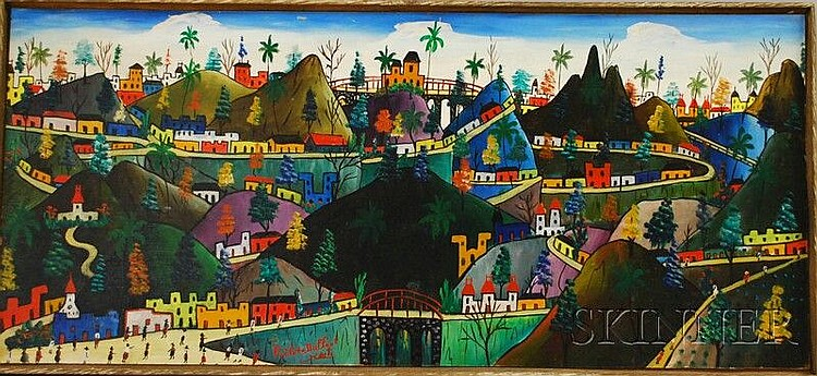 Prefete Duffaut (Haitian, b. 1923) Village in a Mountainous Landscape. Signed