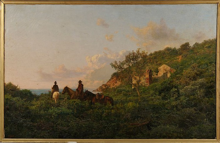 Attributed to Pietro Senno (Italian, 1831-1904) Men on Horseback Descending to a Rocky Shore. Signed