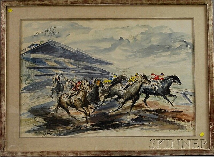 John August Groth (American, 1908-1988) First Turn Aqueduct [Racetrack]. Signed and titled