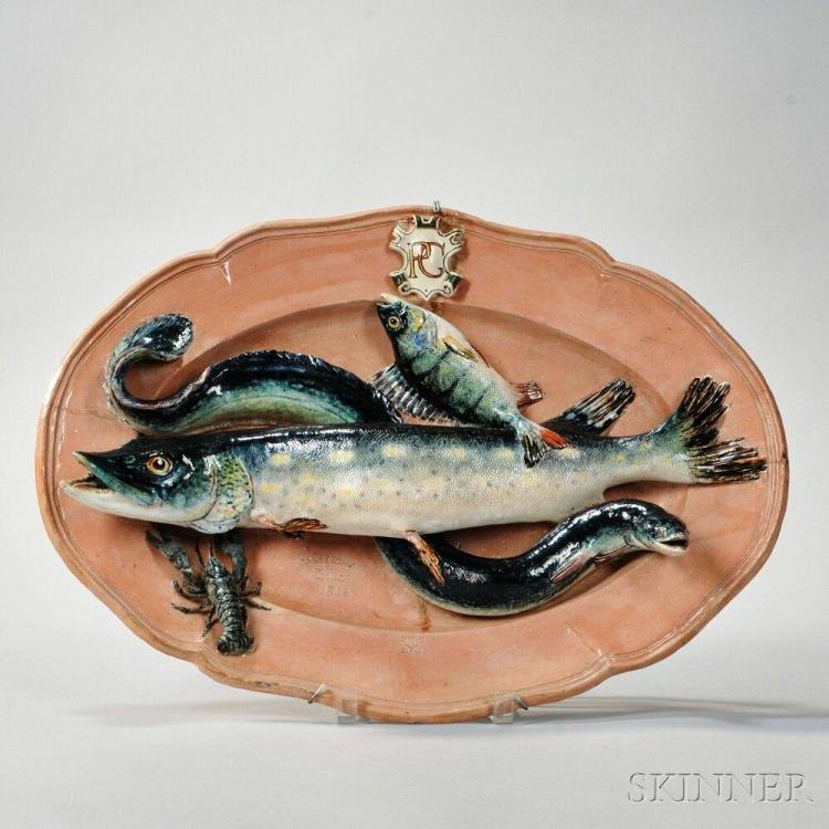 Charles-Jean Avisseau Palissy Ware Platter, Tours, France, c. 1862, enameled earthenware with oval shape and reeded rim to a pale peach