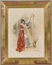 """Bernard Louis Borione (French, b. 1865), Woman Playing a Harp, Signed, inscribed, and dated """"B. Borione/Paris 1902"""" l.r., Condition: No"""