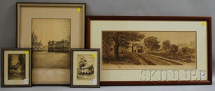 Four Framed Etchings, including George Taylor Plowman (American, 1869-1932), Trinity Church and the Old Museum of Fine Arts, Boston;...