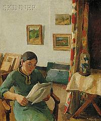"""Richard Maguet (French, c. 1896-1944) Interieur Signed """"Maguet"""" l.r., signed, titled a..."""