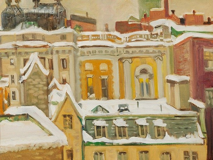 Olga Itasca Sears (American, 1906-1990) Rooftops, Winter Unsigned, artist's estate stamp on t...