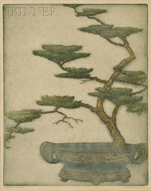 Bertha Evelyn Clausen Jaques (American, 1863-1941) Japanese Pine. Signed