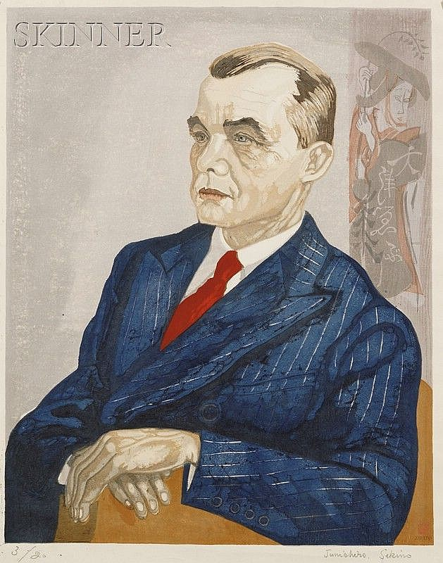 Junichiro Sekino (Japanese, 1914-1988) Lot of Three Portraits: Gentleman Seated and Seated L...