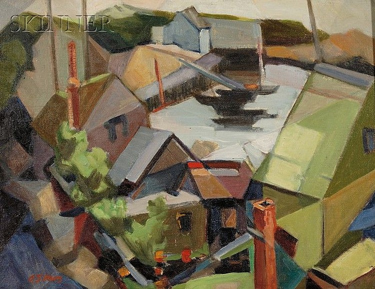Olga Itasca Sears (American, 1906-1990) Pigeon Cove/A Massachusetts View Signed