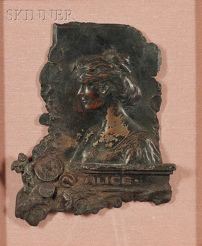 Eric L. (Frederic) Pape (American, 1870-1938) Profile Portrait of Alice Monroe Pape Signed a...