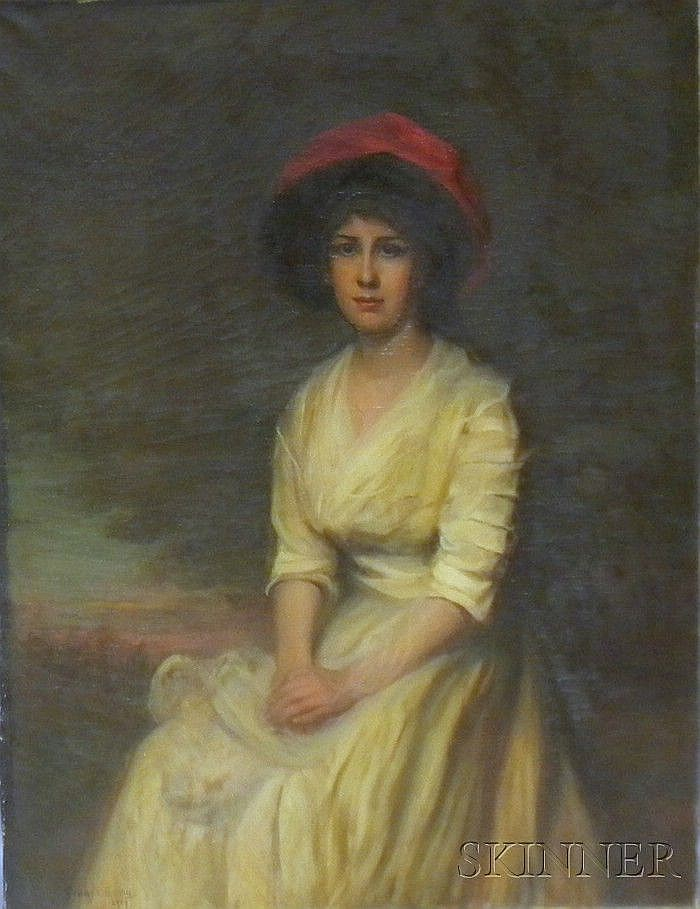 Gerard Barry (American, 1864-1941) Young Woman in a Red Hat Signed and dated