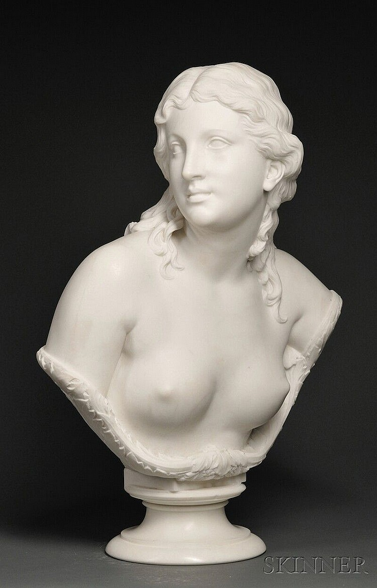 Thomas Ball (American, 1819-1911) Nude Bust of a Young Woman, white marble, accented with carved foliage and berries, impressed