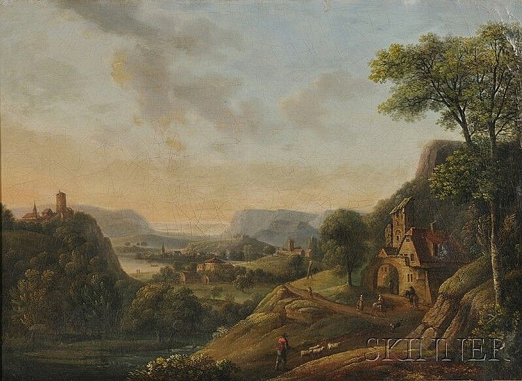 Attributed to Christian Georg Schütz II (German, 1758-1823), View of the Rhine/An Expansive Landscape, Signed indistinctly and dated