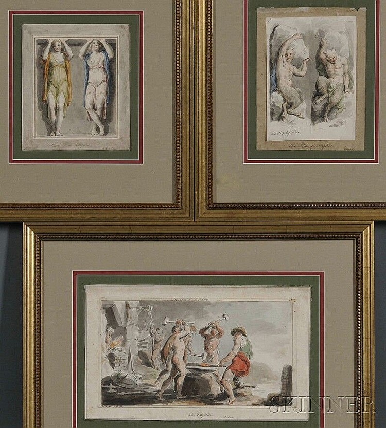 Domenico De Angelis (Italian, 1852-1904), Three Framed Watercolors on Classical Themes: Fucina di Vulcano, Two Satyrs Hefting Boulders,