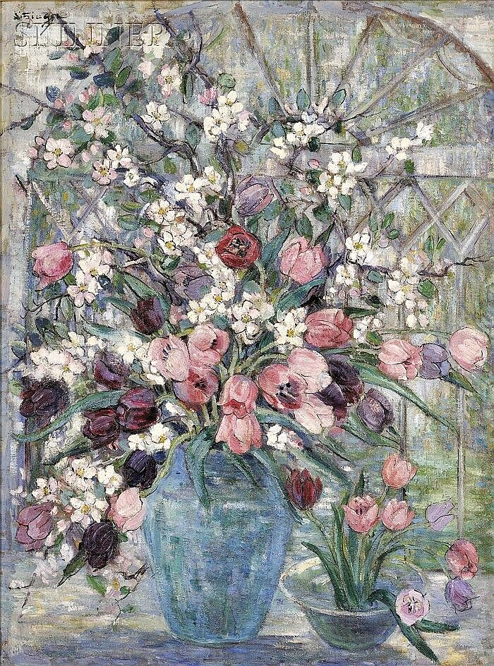 Dorothea M. Litzinger (American, 1889-1925) Floral Still Life with Tulips and Flowering Branches Signed