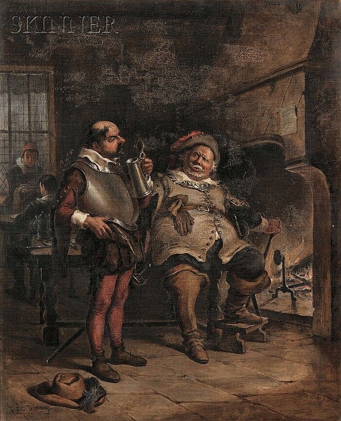 Felix Octavius Carr Darley (American, 1822-1888) Falstaff and Bardolph from Shakespeare's King Henry V Signed and dated