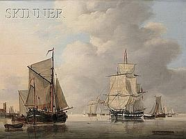 "Jan Hendrik Boshamer (Dutch, b. 1775), Vessels in a Calm Port, Incised ""J. H. Boshamer fec."" l.r., Condition: Retouch, repair to horizo"