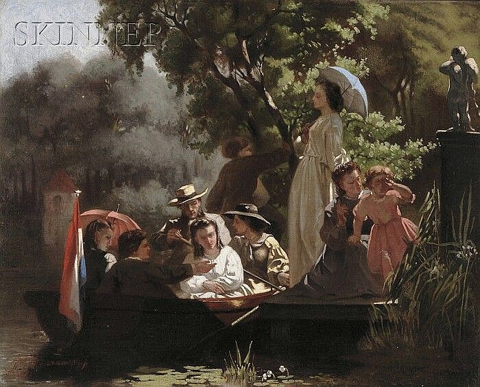 Jozef Willemszoon Hoevenaar (Dutch, 1840-1926) The Boating Party Signed and dated