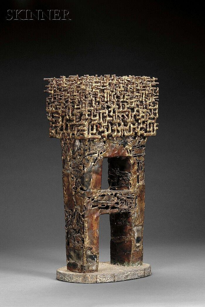 "Satoru Abe (Japanese/American, b. 1926), Untitled, Signed or inscribed ""SATORU"" on the underside., Condition: Minor oxidation and surfa"