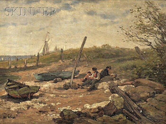 Hugh Newell (American, 1830-1915) Fishermen Resting on the Shore Signed and dated indistinctly