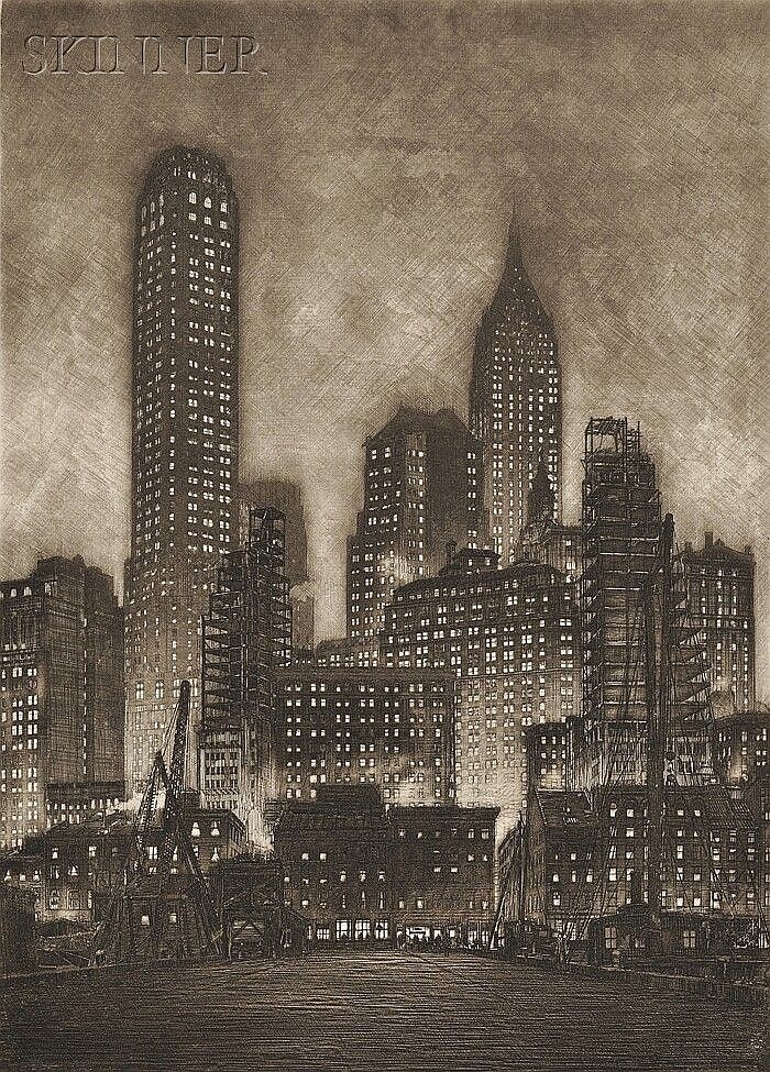 Samuel V. Chamberlain (American, 1895-1975) Manhattan Twilight, 1935, sixth state of nine (Chamberlain & Kingsland, 111). Signed